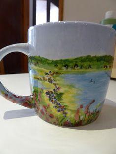 Hand painted ceramics by Pam Smith : Ceramic mugs with hand painted Dorset scenes Hand Painted Ceramics, Ceramic Painting, Ceramic Mugs, Vase, Tableware, Hand Painted Pottery, Pottery Painting, Pottery Mugs, Dinnerware