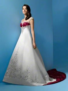 This would be dream wedding dress number 2. However, where ever you see the wine color, I would like it to be a dark royal purple.