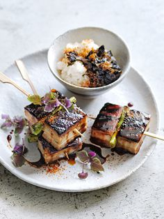 Twice Cooked Pork Belly Yakitori Skewers With Nori Jam Roasted Pork Belly Recipe, Pork Belly Recipes, Twice Cooked Pork, Pesto, Crispy Pork, Grilled Pork, Pork Dishes, Gourmet Recipes, Japanese Recipes