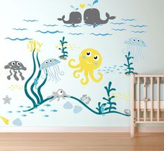 Kids Room Wall Decals Nursery Vinyl Art Nautical Baby Modern Boy Decor