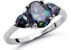 Love Mystic Topaz CZ 925 SS Ring Size 4-9