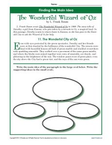 3rd or 4th Grade Main Idea Worksheets about the Book, Anne of ...