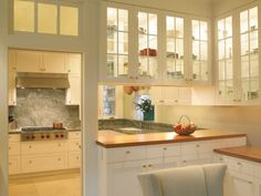 double sided glass kitchen cabinets sea cliff hideaway traditional kitchen two sided glass kitchen cabinets Glass Kitchen Cabinet Doors, Kitchen Cabinets Decor, Kitchen Cabinet Design, Glass Cabinets, Glass Doors, Upper Cabinets, Wall Cabinets, Kitchen Layout, Cupboards