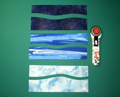 Learn to make your own serene Seascape and Shell bookmark with this step-by-step tutorial. Ocean Quilt, Beach Quilt, Quilting Projects, Quilting Designs, Watercolor Quilt, Landscape Art Quilts, Fabric Cards, Flower Quilts, Mini Quilts