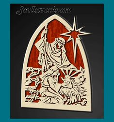 Scroll Saw Patterns :: Holidays :: Christmas :: Plaques & other projects :: Nativity scene with stand -