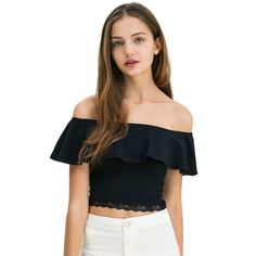 Aliexpress.com : Buy Summer Women Sexy  Patchwork Cotton Boat Neck Off Shoulder Lace Crop Top Causal Overlay Trim Tight T shirt from Reliable boat cooking suppliers on Lychee Fashion