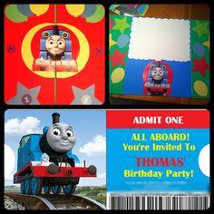DIY Thomas the Train birthday invitations & giant birthday card for my son's first birthday