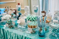 Jackie Sorkin's Fabulously Fun Candy Girls, Candy World, Candy Buffets & Event Industry Bl: It's TIFFANY & Co Blue, teal, white, silver, glam, SWEETNESS! Dessert bar, candy buffet, custom tiffany blue cake pops, donuts, marshmallow pops, cupcakes, candy, chocolate favors & more