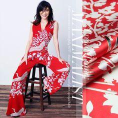 e00ddaf5704c 118cm wide 19mm 93% silk   7% spandex white birds print red silk satin