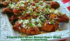 3-Cheese Pull-Apart Buffalo Party Wings with Bacon & Green Onions (No Dip Needed!)