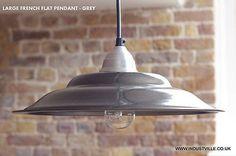 FRENCH GREY VINTAGE INDUSTRIAL  RETRO PENDANT METAL LAMPSHADE BAR RESTAURANT LIGHTING - 45 cm / 17 inch