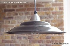 FRENCH  GREY ENAMEL VINTAGE INDUSTRIAL  RETRO PENDANT METAL LAMPSHADE BAR RESTAURANT LIGHTING - 45 cm / 17 inch