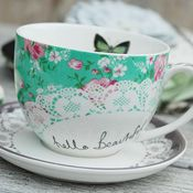 Disaster mug cup tea cups tea mug tea cup coffee cup porcelain green with butterfly