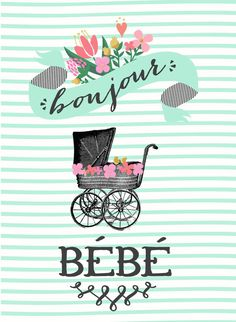 """Bonjour Bebe Girl Baby Shower Invitation"" by LittleBohemianPapier, via Etsy."