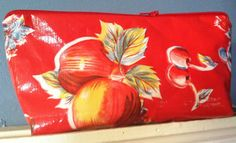 New retro large oilcloth makeup cosmetic zipper pouch clutch oilcloth