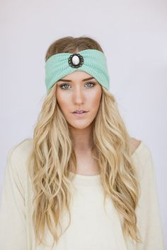 Mint Boho Knit Headband WanderLust Bohemian Free Spirited Accessories Women's Fashion Hair Accessories Hair Bands Photo Prop (MINT Jewel) on Etsy, $38.00