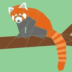 Red Panda w/Branch paper-piecing quilt pattern, PDF