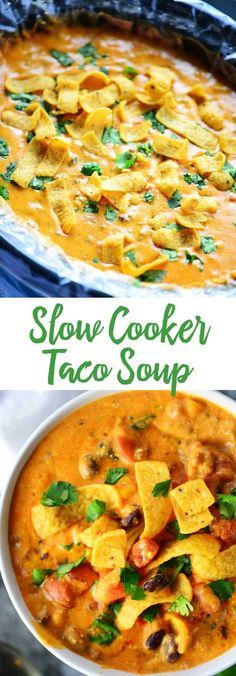 This Slow Cooker Taco Soup recipe is so easy to make and so flavorful. Just brown the meat, put everything in the crockpot to cook, and then just stir! Serve with corn chips. Serve for a family dinner or at potlucks and parties. #slowcookerrecipes #crockpot #tacosoup