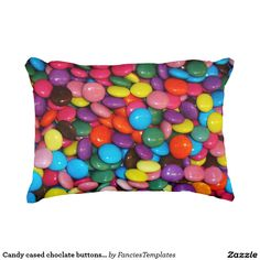 Candy cased choclate buttons Texture Template Decorative Pillow