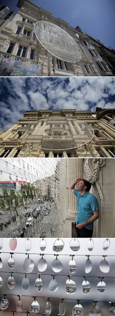 Canadian artists Caitlind r.c. Brown and Wayne Garrett have created sea/see/saw, a temporary kinetic sculpture made from 14,000 used eyeglass lenses, that was commission for the 10th Anniversary of the Pera Museum in Istanbul, Turkey.