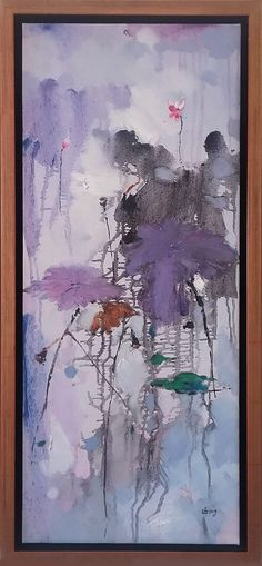 YOU JING SHENG Untitled floral abstract (0010) original, oil on canvas 13.5″ x 29″, framed Available