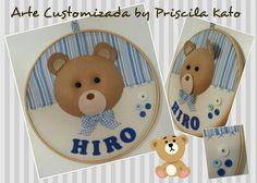 Quadro em bastidor urso do Hiro! Confeccionado em feltro e tecido!