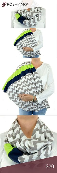 Seahawks Handmade Breastfeeding Cover Scarf Seahawks Handmade Breastfeeding Cover Scarf. It can be worn as a scarf and open up for privacy when breastfeeding. Made of soft cotton/poly material. Accessories Scarves & Wraps