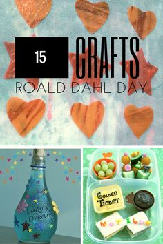 15 crafts for celebrating Roald Dahl Day with recipes and crafts including making your own George's Marvellous Medicine. Matilda Roald Dahl, Roald Dahl Day, Roald Dahl Books, Roald Dahl Activities, Activities For Kids, Crafts For Kids, Dementia Activities, Fun Crafts, The Witches Roald Dahl