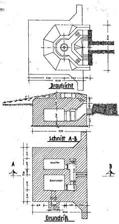 Regelbau 600 - Stilling til 5cm KwK - Geschützstellung für 5cm KwK - Emplacement for 5cm antitank gun.