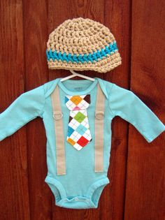 Get The Set  Teal and Argyle Tie Onesie or Shirt by shopantsypants, $34.00