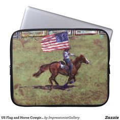 US Flag and Horse Cowgirl American Rodeo Art Laptop Sleeves (3 sizes)