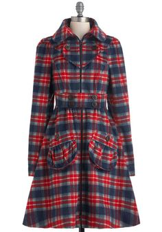 I Heart Plaid Coat, #ModCloth