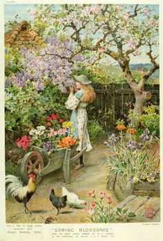 William Stephen Coleman ( British Painter ) 1829 1904 Spring Blossoms an English cottage garden French Cottage Garden, Cottage Art, Painted Cottage, Paintings I Love, Beautiful Paintings, Art Paintings, Spring Blossom, Fine Art, Oeuvre D'art