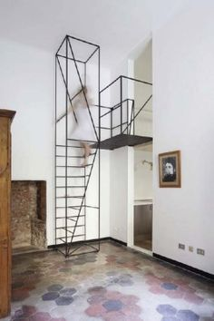 Minimalist space saving steel staircase fabricated entirely out of thin rod | Francesco Librizzi