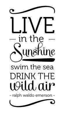 I Love This Quote By Ralph Waldo Emerson   Live In The Sunshine, Swin The  Sea, Drink The Wild Air   So I Wanted To Do Something Special With It.