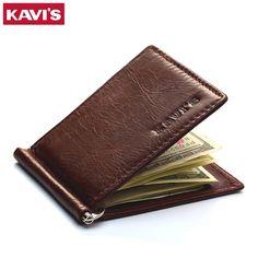 Best Price $9.98, Buy KAVIS Slim Brand Men Women Genuine Leather Bifold Male Purse Billfold Wallet Money Clip Female Clamp for Money Case