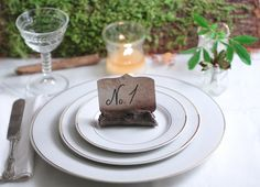 Place Card Holder Woodland Wedding Tree Log Rustic Forest Brown Black Clay 10