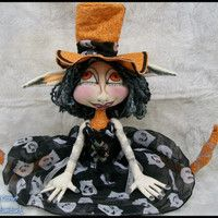The Halloween Pixie  Cloth Art Doll  ---  Top Hat Tizzy  in Orange/Black