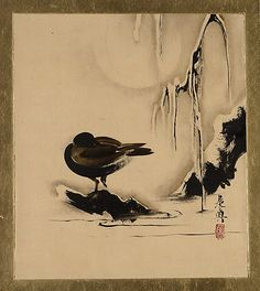 Lacquer Paintings of Various Subjects: Bird and Willow in Snow  Shibata Zeshin  (Japanese, 1807–1891)  Period: Meiji period (1868–1912) Date: 1882 Culture: Japan Medium: Album leaf; ink, color, and lacquer on paper