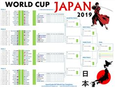 Excel Files - Jpeg/PDF posters (other Timezones) - Set 2 Set 3 Create your own interesting World Cup Posters for Japan 2019 now usin. Create Your Own World, Create Yourself, Rugby World Cup, Semi Final, Japan, Templates, Poster, Stencils, Vorlage