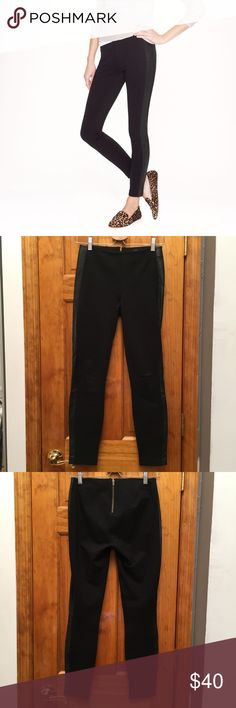 """J. Crew Pixie Pant in Leather Tuxedo Stripe EUC Waist:13"""" Rise:8"""" Inseam:26"""" All measurements are taken with the item laid flat.  Excellent Used Condition Stretch: Normal Material:See photos Color:Black 15% off on bundles. I ship same-day from pet/smoke-free home.Buy with confidence.I am a top seller with close to 800 5-star ratings and A LOT of love notes.Check them out!😊😎 J. Crew Pants Leggings"""