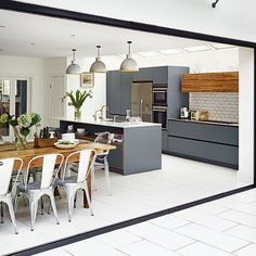 Kitchen accessories ideas kitchen cabinets,red and black kitchen decor small kitchen design pictures modern,kitchen renovation inspiration perfect kitchen layout. Kitchen Diner Extension, Open Plan Kitchen Diner, Open Plan Kitchen Living Room, Kitchen Layout, New Kitchen, Kitchen Ideas, Kitchen Extension With Bifold Doors, Kitchen Bifold Doors, Grey Kitchen Diner