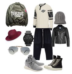 """""""Guys Nite Out"""" by nicolette-hill on Polyvore featuring Reebok, Rick Owens, adidas Originals, DRKSHDW, FOSSIL, Topman, Ray-Ban, Merona, BoohooMAN and mens"""