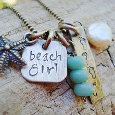 LOVE IT! beach mom personalized handstamped rustic by CremeDeLaGems on Etsy, $56.00
