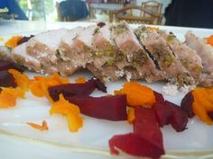 Served, Pork Loin, Carrots & Beetroots in Salt Crust