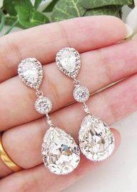 Bling fling   www.myLusciousLife.com - Sparkly earrings Infinity Earrings, Diamond Earrings, Dangle Earrings, Second Piercing, Swarovski Crystal Earrings, Sterling Silver Earrings, Gold Polish, Wedding Earrings, Dangles