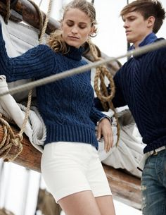 Classic nautical fashion .   Crew sweater. White shorts