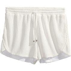 H&M Hole-patterned shorts (95 ARS) ❤ liked on Polyvore featuring shorts, bottoms, short, white, short shorts, hot shorts, white shorts, micro short shorts and white jersey