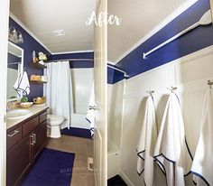This Nautical Navy & White Bathroom Makeover takes a boring, builder grade bathroom & transforms it into a beautiful space. Start to finish in just 2 days. Wood Hamper, Laundry Cart, Log Bed, Builder Grade, White Bathroom, Beautiful Space, Navy And White, Bathroom Ideas, Nautical