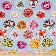 Kaffe Fassett Collective Big Blooms Duckegg from @fabricdotcom  Designed by Kaffe Fassett for Westminster/Rowan Fabrics, this cotton print is perfect for quilting, apparel and home decor accents. Colors include orange, brown, hot pink, pink, tan, yellow and duckegg blue.